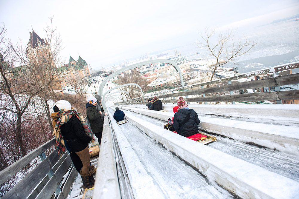 Toboggan Slide at Terrasse Dufferin (a short walk from the hotel…)
